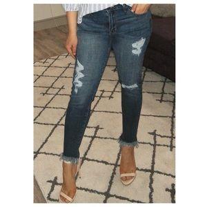 Fray Hem Ankle Jeans